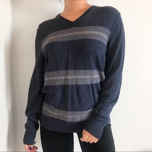 Blue and Grey Striped Sweater